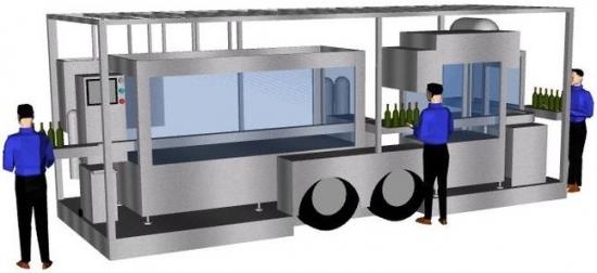 Füllanhaenger: mobile Abfüllanlagen. 3D-Darstellung.